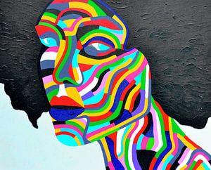 Kleurrijk schilderij Rainbow Woman 2, alle kleuren van de regeneboog. van Freek van der Hoeve