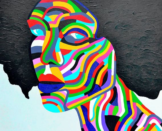 Kleurrijk schilderij Rainbow Woman 2, alle kleuren van de regeneboog.
