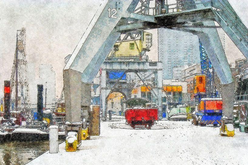 Winter bij de Leuvehaven van Frans Blok