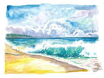 Seven Mile Beach Grand Cayman mit türkisfarbenen Wellen von Markus Bleichner