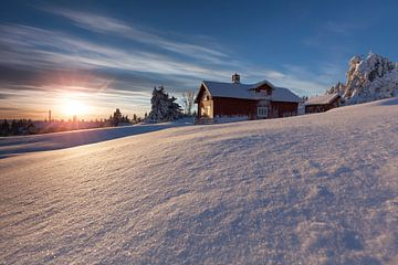 Coucher de soleil à Lillehammer, Norvège sur Rob Kints