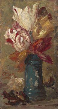 Tulpen in een groene Albarello, Sientje Mesdag - van Houten sur