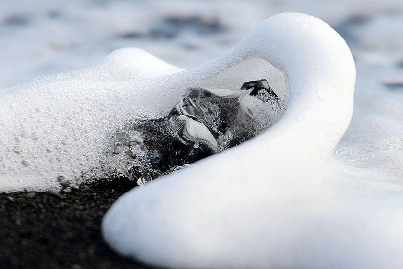 IJsbrok met golf op het zwarte lavastrand in IJsland van Gonnie van de Schans