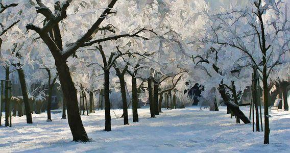 Boomgaard in de sneeuw