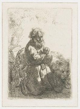 Hieronymus kniend im Gebet, Blick nach unten, Rembrandt van Rijn.
