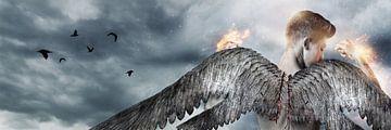 Krachtige engel met vleugels heft de vuisten op van Besa Art