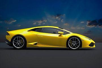 Lamborghini Huracan, voiture de sport italienne jaune sur Gert Hilbink