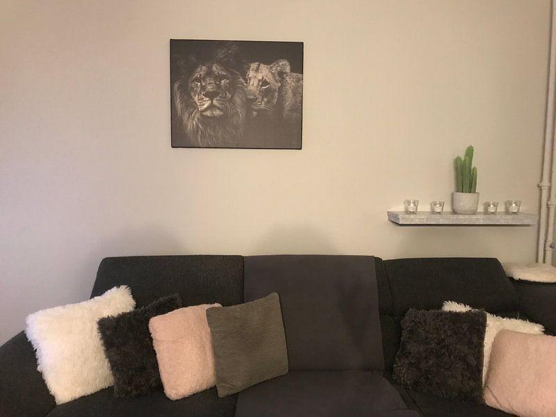 Kundenfoto: Löwe schwarz-weiß mit Titel: Löwenpaar von Designer
