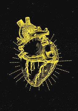 Zwevend hart in de galaxy van A De Jong