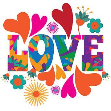 Love Schriftzug mit Herzen und Blumen Vintage 70er Stil von Herbert Blum