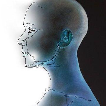 16. silhouet, portret, gezicht, kaal.  Kjeld. van Alies werk