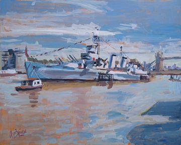 HMS Belfast in de zon van Nop Briex