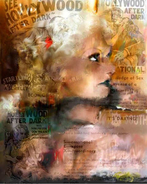 Jean Harlow Pop Art Canvas van Leah Devora