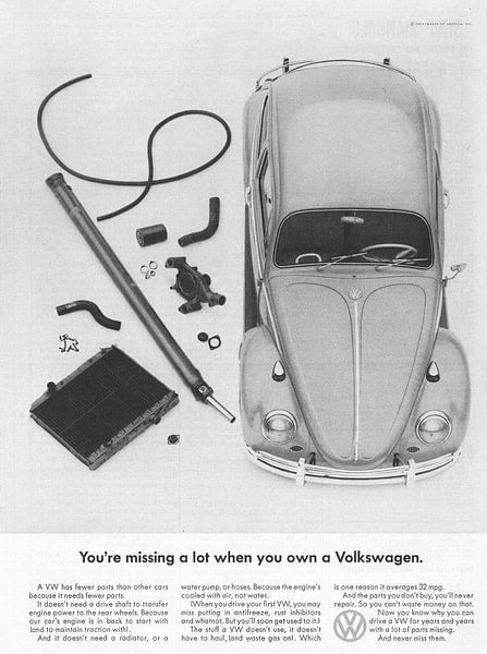 Vintage advertentie Volkswagen 1965 van Jaap Ros