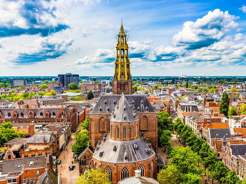 Skyline Groningen met de Der-Aa kerk van Jacco van der Zwan