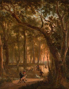 Hirschjagd im Wald, Jan Hackaert
