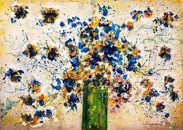 Blau gelbe Buschrosen von Klaus Heidecker