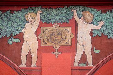 Fresco van kinderen op Raadhuis van Bazel in Zwitserland van Joost Adriaanse