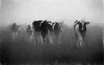 koeien in de mist von Yvonne Blokland