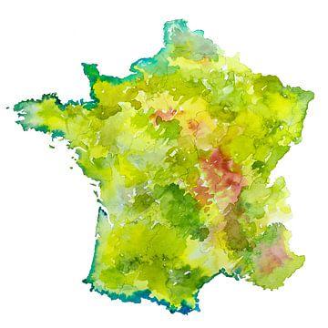 Frankrijk | Landkaart als aquarel schilderij van - Wereldkaarten.shop -
