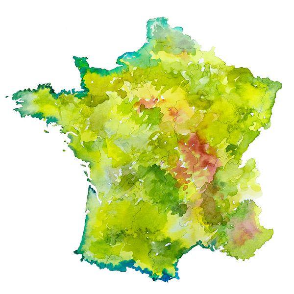Frankrijk | Landkaart als aquarel schilderij van Wereldkaarten.Shop