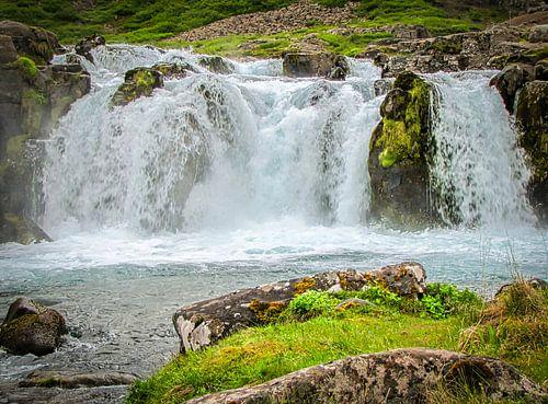 Dichtbij de bruisende waterval, IJsland
