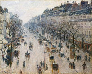 Der Boulevard Montmartre an einem Wintermorgen, Camille Pissarro von Meesterlijcke Meesters