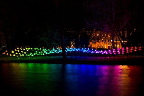Verlichte gracht Amsterdam Light Festival  van
