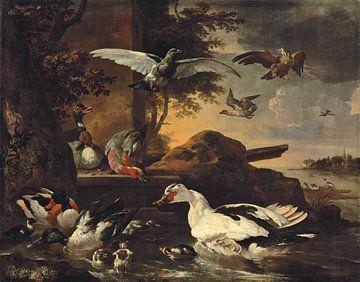 Eenden en andere watervogels op de oevers van een rivier, Melchior de Hondecoeter