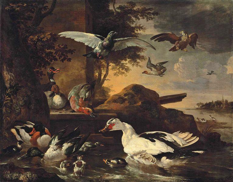 Eenden en andere watervogels op de oevers van een rivier, Melchior de Hondecoeter van Meesterlijcke Meesters