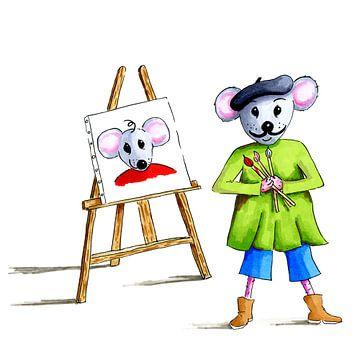 artistieke muis als kunstschilder van Ivonne Wierink