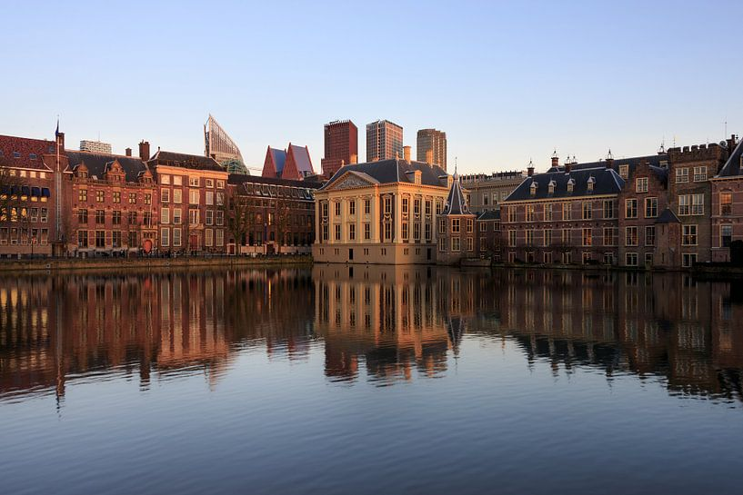 Skyline van Den Haag met Mauritshuis, Torentje en het Binnenhof met reflectie van iPics Photography