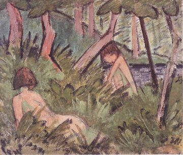 Zwei im Wald liegende Akte, Otto Mueller - ca 1920 von Atelier Liesjes