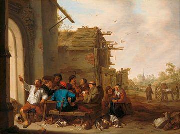 Zahlen vor einem Dorfgasthaus, Cornelis Saftleven