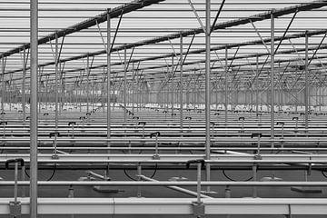 Abstracte foto in zwart-wit met lijnen von Rinus Lasschuyt Fotografie