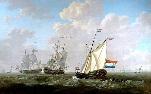 VOC Schilderij met Nederlandse vlag (HQ) - Schilderijen van Jacob van Strij van Schilderijen Nu