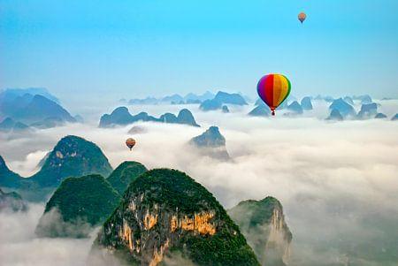 Hot air balloon over Yangshuo China