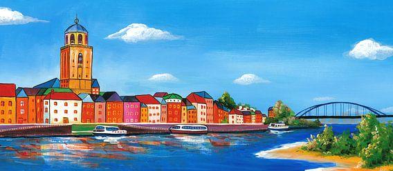Schilderij Deventer skyline
