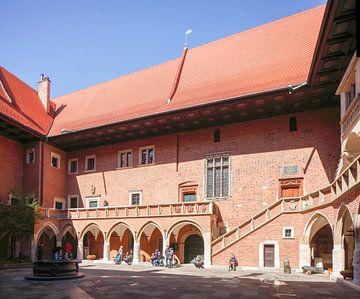 Arcaded courtyard of Collegiom Maius, Krakow, Lesser Poland, Poland, Europe