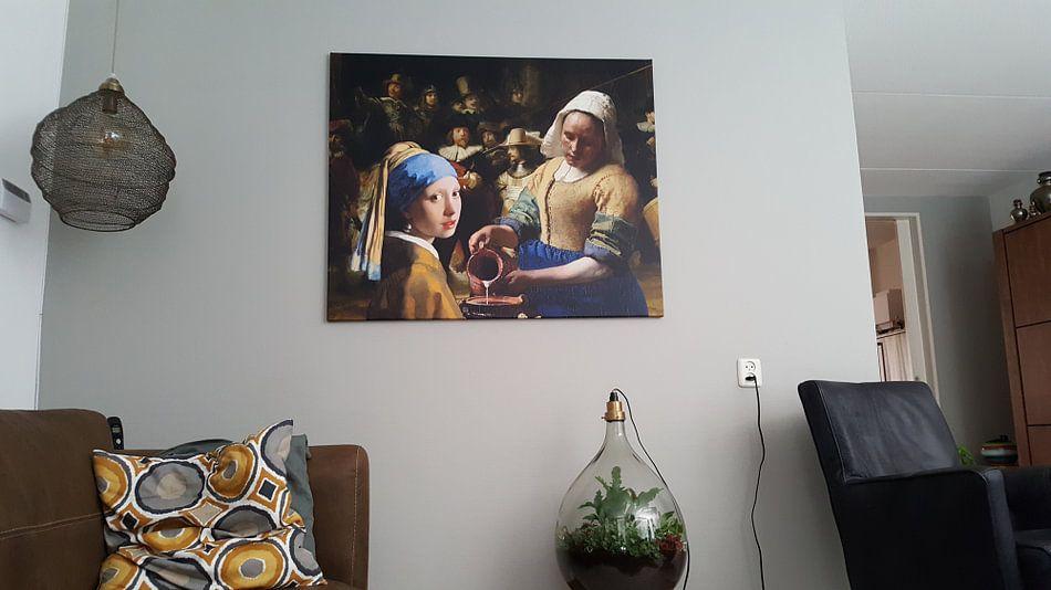 Klantfoto: Meisje met de parel - Melkmeisje -  De Nachtwacht 2 van Lia Morcus