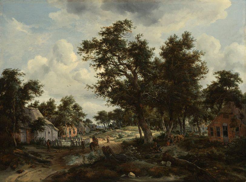 Eine bewaldete Landschaft mit Reisenden auf dem Weg durch ein Dorf, Meindert Hobbema und Abraham Sto von Meesterlijcke Meesters