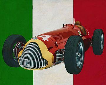 Alfa Romeo 158 Alfetta met de Italiaanse vlag