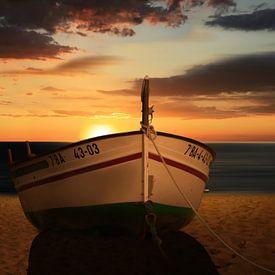 Das Boot im Sonnenuntergang von Monika Jüngling