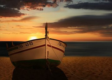 Le bateau au coucher du soleil sur
