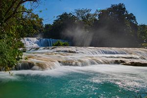 Agua Azul waterval, Palenque, Mexico van Wilco Speksnijder