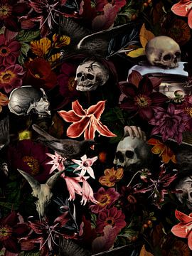 Antieke De Heem schedel en bloemen van Uta Naumann