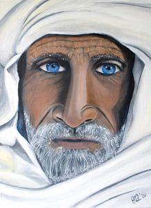 Peinture berbère aux yeux bleus et foulard en peinture à l'huile