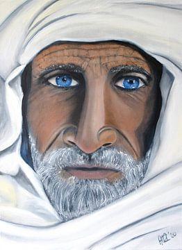 Gemälde portret der Berberin mit blauen Augen und Schal in Ölfarbe von Marianne van der Zee