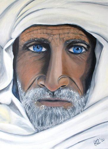 Schilderij Portret van Berber met blauwe ogen en sjaal van Marianne van der Zee