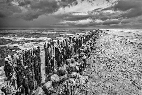 Winterlandschap Waddenzee van Peter Bolman